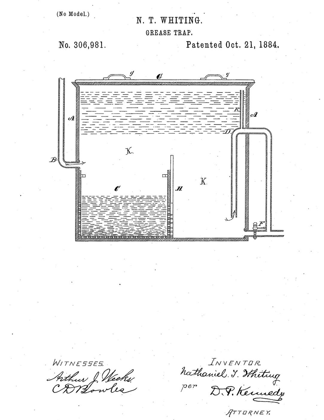 N T Whiting illustration of grease trap.